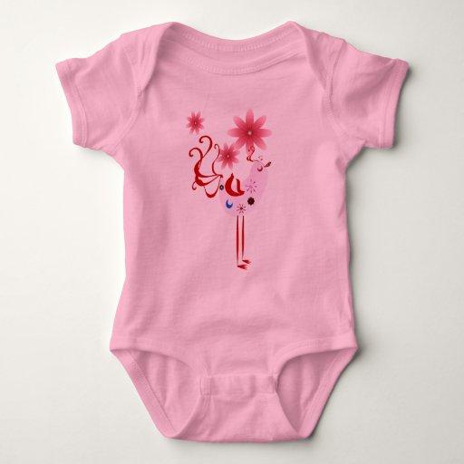 Pájaro rosado de la primavera de la felicidad t shirts
