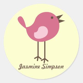 Pájaro rosado de las etiquetas/de los pegatinas pegatina redonda