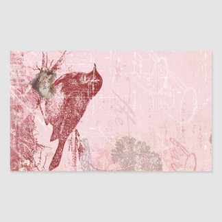 Pájaro rosado del amor pegatina rectangular
