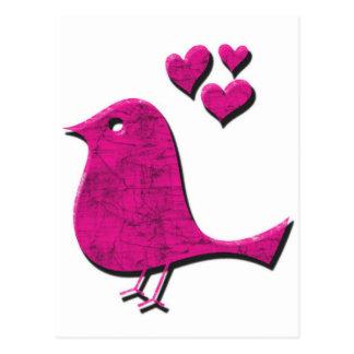 Pájaro rosado del amor tarjetas postales