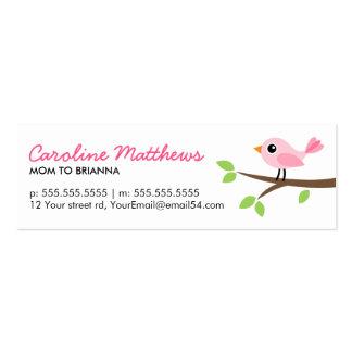 Pájaro rosado en tarjeta de visita linda de la mam