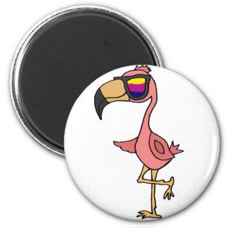 Pájaro rosado fresco divertido del flamenco con imán redondo 5 cm