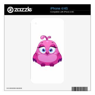 Pájaro rosado lindo del búho skins para eliPhone 4