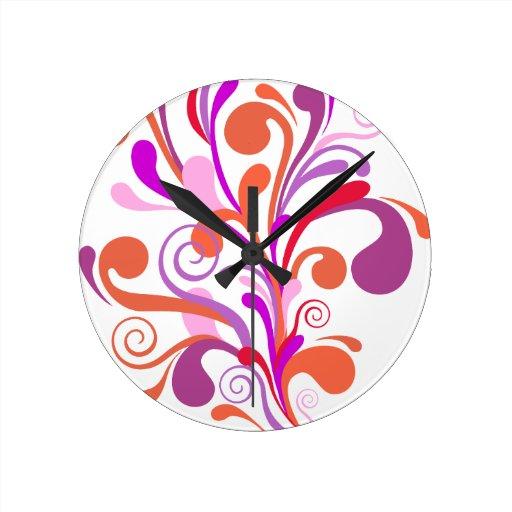 pájaro rosado lindo reloj redondo mediano