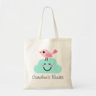 Pájaro rosado lindo y biblioteca personalizada nub bolsa tela barata