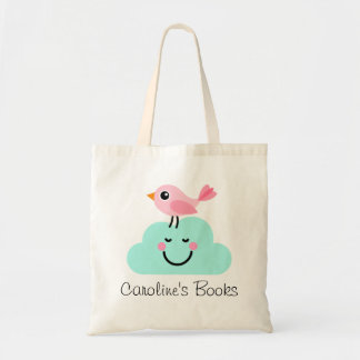 Pájaro rosado lindo y biblioteca personalizada nub bolsa
