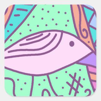 Pájaro rosado pegatina cuadrada