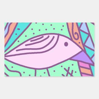 Pájaro rosado pegatina rectangular
