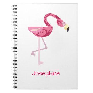 Pájaro rosado personalizado del flamenco libros de apuntes con espiral