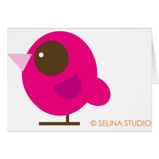 Pájaro rosado tarjeta de felicitación