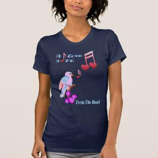 Pájaro rosado y camisetas Nota-indicado con letras