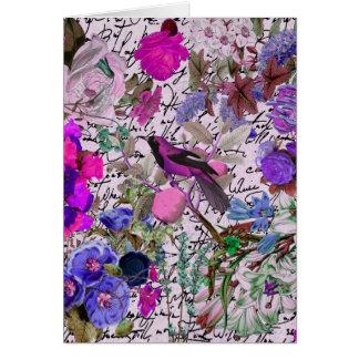 Pájaro rosado y púrpura del vintage y floral y esc tarjetón