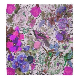 Pájaro rosado y púrpura del vintage y floral y esc bandana