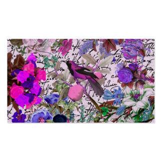 Pájaro rosado y púrpura del vintage y floral y tarjetas de visita