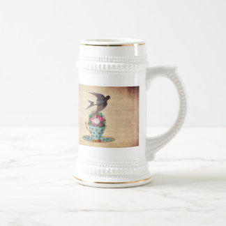 Pájaro, rosas, y taza de té del vintage