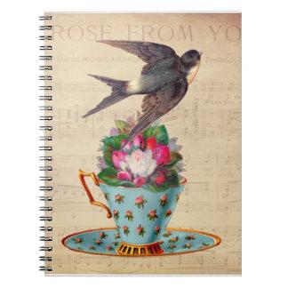 Pájaro, rosas, y taza de té del vintage libreta