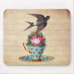 Pájaro, rosas, y taza de té del vintage alfombrilla de raton