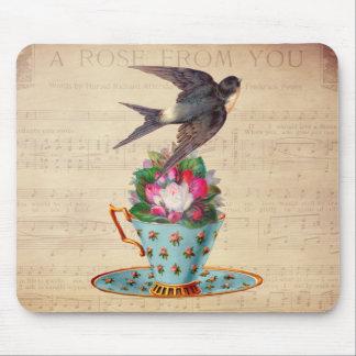 Pájaro, rosas, y taza de té del vintage mouse pad