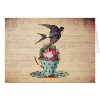Pájaro, rosas, y taza de té del vintage felicitación