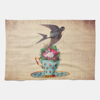 Pájaro, rosas, y taza de té del vintage toallas de mano