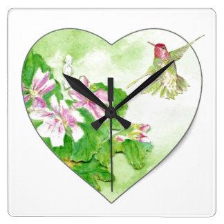 Pájaro rufo del colibrí de la acuarela original reloj cuadrado