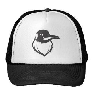 Pájaro serio del pingüino de emperador en negro gorros