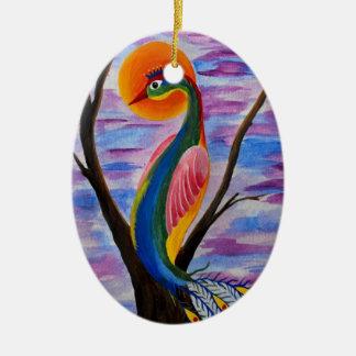 Pájaro solitario adorno navideño ovalado de cerámica