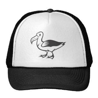 Pájaro sonriente del albatros en blanco y negro gorras