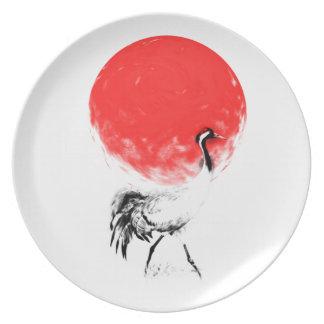 Pájaro Sumie de la grúa Platos