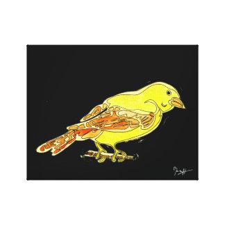 Pájaro tallado mano en acuarelas amarillas lona estirada galerías