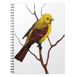 Pájaro: Tanager en pastel del aceite: Arte de la f Libreta