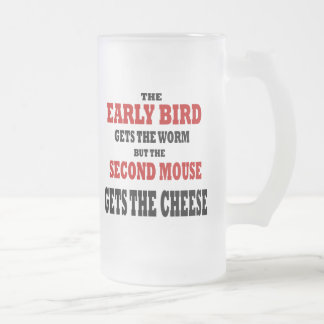 Pájaro temprano divertido taza de cristal
