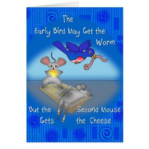Pájaro temprano tarjeta de felicitación