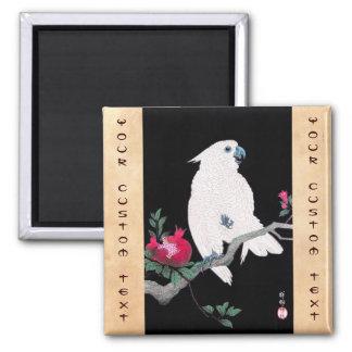 Pájaro tropical blanco japonés fresco del loro de  imán cuadrado