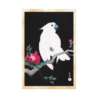 Pájaro tropical blanco japonés fresco del loro de  lienzo envuelto para galerias