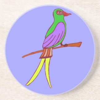 Pájaro tropical colorido en fondo amethyst posavasos manualidades