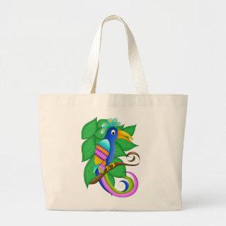 Pájaro tropical de Burdeos con el bolso de la lona Bolsa Tela Grande