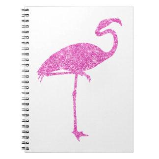 Pájaro tropical del flamenco de los falsos libros de apuntes con espiral
