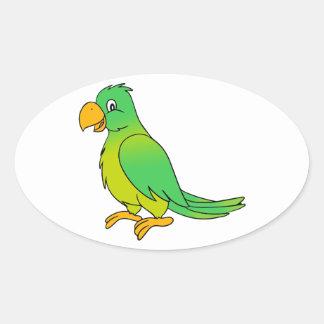 Pájaro verde colorido feliz del loro calcomanías de óvales