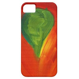 Pájaro verde con el amor que fluye alrededor de él iPhone 5 Case-Mate cárcasa