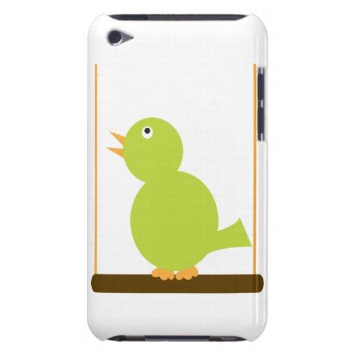 Pájaro verde en un caso de la perca iPod touch protector