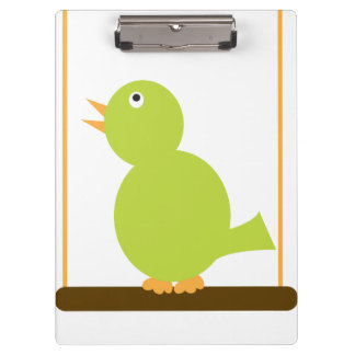 Pájaro verde en una perca