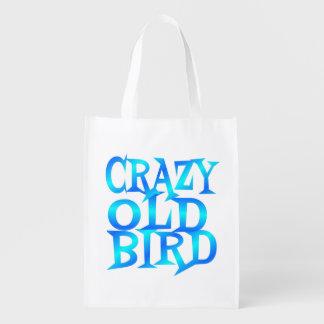 Pájaro viejo loco bolsas reutilizables