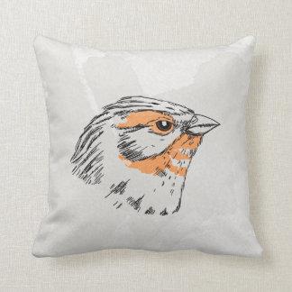 Pájaro vol.1 de la acuarela del Emberiza Cojín Decorativo