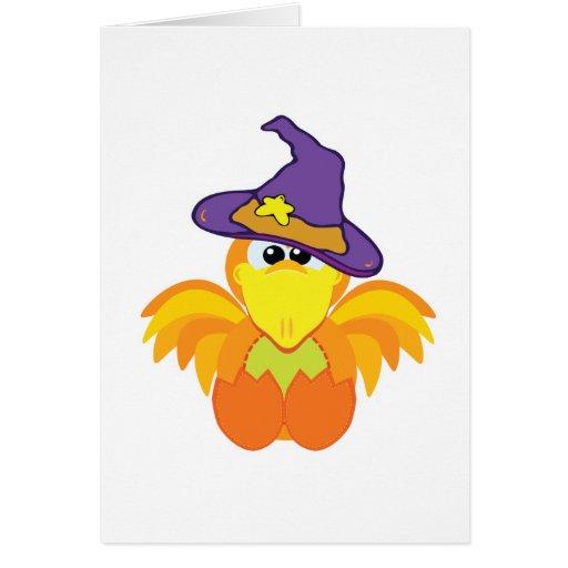 pájaro witchy del naranja de los goofkins tarjeta de felicitación