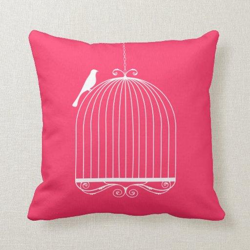 Pájaro y Birdcage Cojin