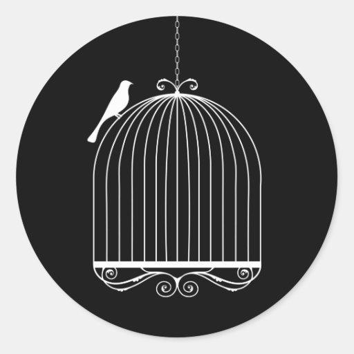 Pájaro y Birdcage Pegatina Redonda