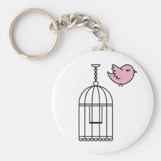 Pájaro y Birdcage rosados Llavero Redondo Tipo Pin