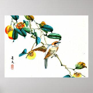 Pájaro y caquis 1892 póster