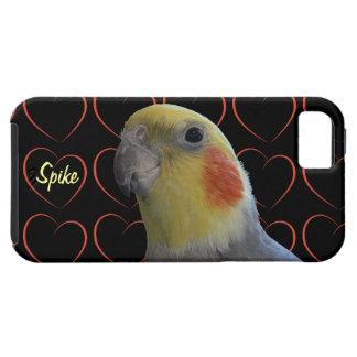 Pájaro y corazones del Cockatiel iPhone 5 Protector